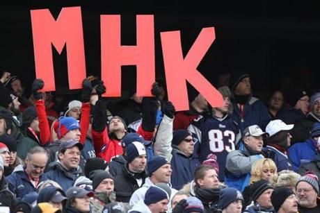 FOXBOROUGH, MA JANUARY 22, 2012 AFC CHAMPIONSHIP NEW ENGLAND PATRIOTS VS. BALTIMORE RAVENS New England Patriots' fans in the stands before the against Baltimore Ravens on Sunday, January 22, 2012 at Gillette Stadium in Foxborough, MA. (Jim Davis/Globe Staff Photo)