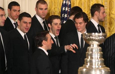 Tyler Seguin joked around with teammates as they met Obama in the East Room.