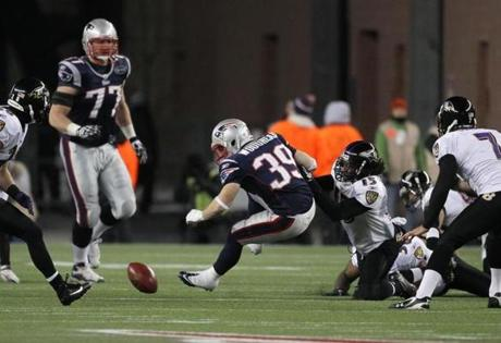 FOXBOROUGH, MA JANUARY 22, 2012 AFC CHAMPIONSHIP NEW ENGLAND PATRIOTS VS. BALTIMORE RAVENS New England Patriots' Danny Woodhead #39 fumbles the ball in the third quarter of the game against Baltimore Ravens on Sunday, January 22, 2012 at Gillette Stadium in Foxborough, MA. (Barry Chin/Globe Staff Photo)