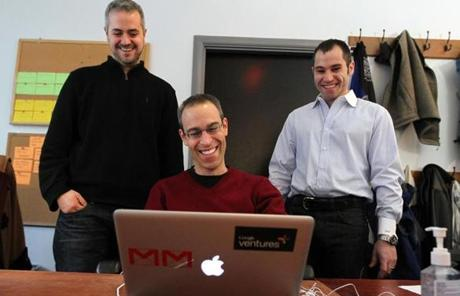 Cambridge, MA 1/12/12 CustomMade Ventures Corp (cq) cofounder and CEO Mike Salguero (cq), left, and cofounder and CFO Seth Rosen (cq), right, pose with Michael Margolis (cq). With Google Ventures, Margolis works on user-experience testing in the
