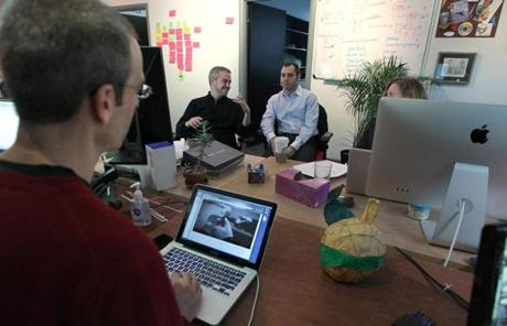 Cambridge, MA 1/12/12 With Google Ventures, Michael Margolis (cq), left, works on user-experience testing in the