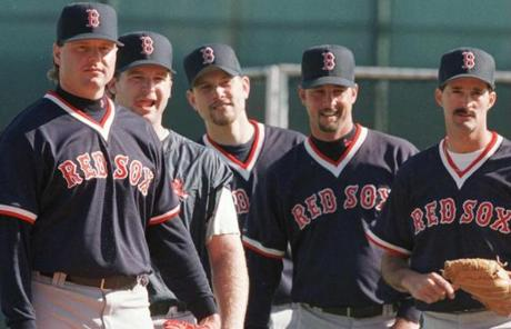 Wakefield, second from right, bridged several generations of Red Sox players and was a teammate to Roger Clemens, left.