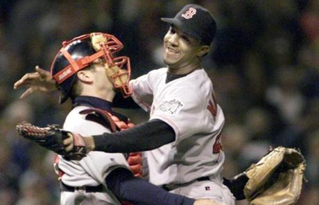 Varitek caught the final out delivered from Pedro Martinez in 1999 when the Red Sox won their first playoff series in 13 years.