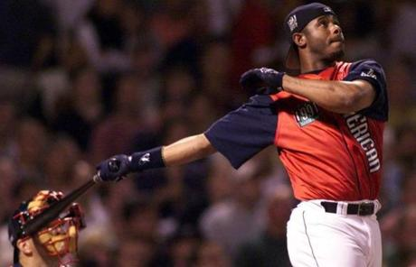 Ken Griffey, who won the contest, blasted one of his home runs during the derby.