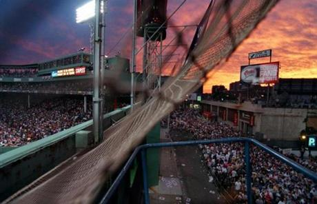Fans lined up inside and outside Fenway Park for the home run derby.