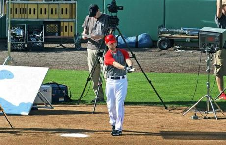Pedroia also filmed a TV commercial at JetBlue Park.