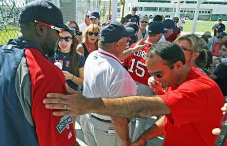 David Ortiz, left, and Dustin Pedroia had a chance to get up close with fans at the team's new spring complex.