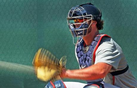 Catcher Jarrod Saltalamacchia was in camp early for drills with pitchers.