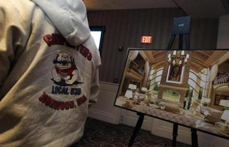 Drawings of the proposed casino were displayed at the event, where attendees were treated to appetizers.