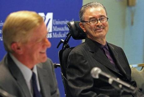 3-15-12 Boston, MA: Former Massachusetts Governor Paul Cellucci, right, smiles as he glances at his former boss, former Massachusetts Governor William Weld (left) as Weld cracks a joke during a press conference held at the Seaport Boston Hotel prior to a fundraiser for the University of Massachusetts Medical School's UMASS /ALS Champion Fund. Cellucci has been diagnosed with ALS. (Globe Staff Photo/Jim Davis) section:metro slug:16cellucci