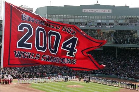 The championship banner flew high above Fenway Park