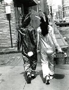 April 22 1973: Bunnies Denise and Michelle Duncan strolled on Harrison Avenue in the South End.