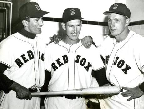 BU product Harry Agganis, left, debuted with a flash for the Red Sox in 1954, but would die at age 26 the next year of a pulmonary embolism.