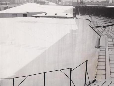 Snow blanketed Fenway Park on this 1955 day.