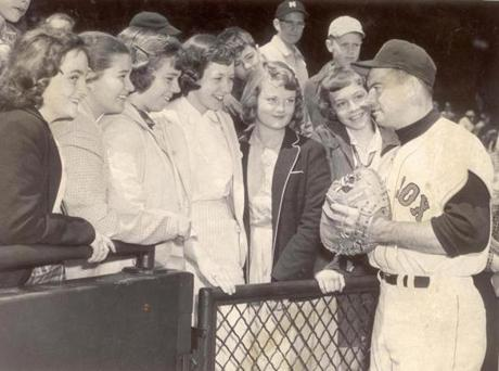 Members of the Topsfield girls softball team attended a clinic sponsored by the Boston Globe on April 26, 1958.
