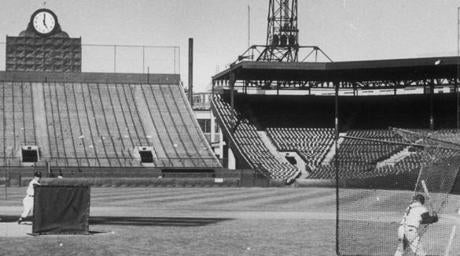 The seats were empty, but the Red Sox were in Fenway Park for batting practice on May 19, 1959.