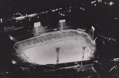 Fenway Park was shining from above in this May 20, 1964, night game.