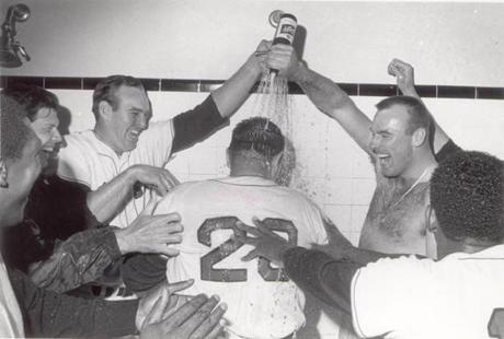 Manager Dick Williams got a celebratory shower after the Red Sox won the 1967 pennant.