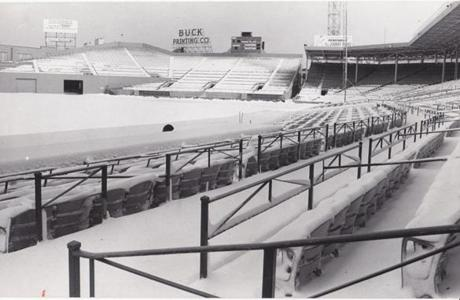 Snow covered Fenway Park on Feb. 12, 1969.