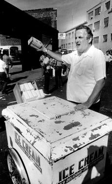 Ed Russo sold popcorn and ice cream outside Fenway Park on Aug. 25, 1974