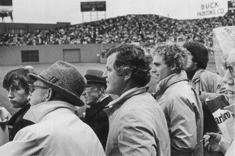 Sen. Edward Kennedy, center, with his nephew, Joe Kennedy, took in one of the World Series games.