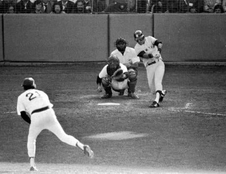 Bucky Dent launched this home run into the net that propelled the Yankees to a win in the one-game playoff in 1978.