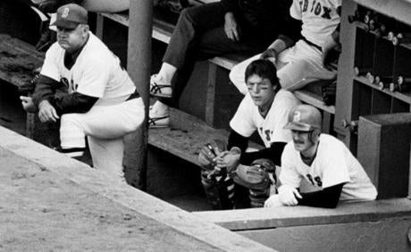 Don Zimmer, Carlton Fisk and Rick Burleson, left to right, watched grimly as the Red Sox lost their fourth straight to the Yankees in the