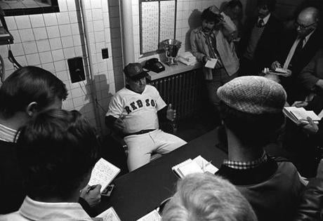 A dejected Zimmer grimly met reporters after the loss to the Yankees in the one-game playoff in 1978.