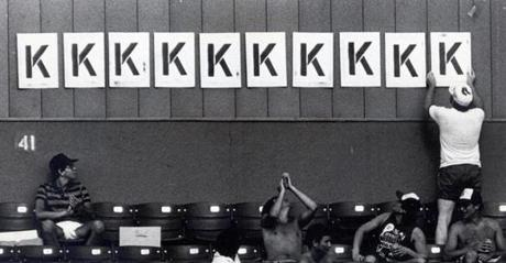 Fans in the bleachers regularly tracked strikeouts during Clemens' starts with K cards hung on the wall.