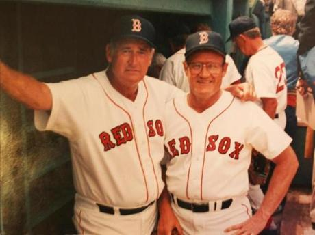 Ted Williams posed with Carroll Hardy, right, the only player ever to pinch-hit for him, during the 1986 Old Timers game at Fenway.