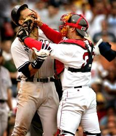 Jason Varitek struck Alex Rodriguez to spark a benches-clearing incident in a July 24, 2004, game.