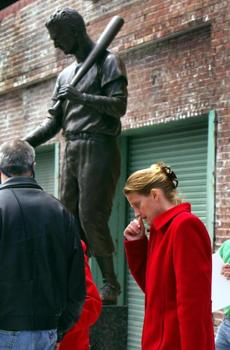 Ted Williams' daughter, Claudia, got emotional at the unveiling of a statue in her father's likeness outside Fenway Park on April 16, 2004.