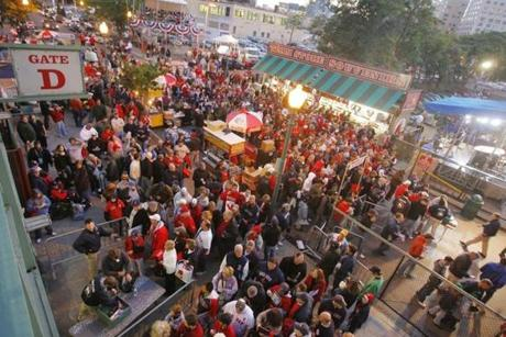 Fans lined up on Yawkey Way to enter Game 2 of the ALCS against Indians on Oct. 13, 2007.