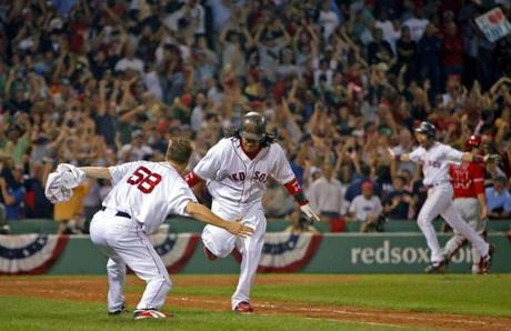 Jonathan Papelbon ran out to congratulate Manny Ramirez after his game-ending home run in Game 2 of the 2007 ALDS against the Angels.