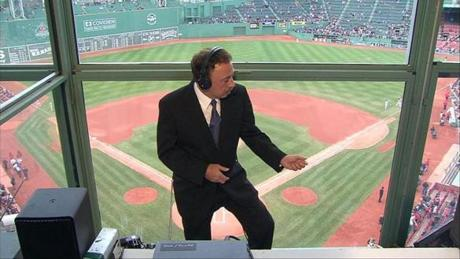 Red Sox announcer Jerry Remy danced to an air guitar inside the TV booth in June 2007.