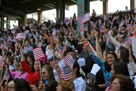 More than 3,000 new citizens were sworn in on Sept. 17, 2008, in the first-ever naturalization ceremony held at Fenway Park.