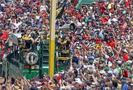 The Bruins showed off the Stanley Cup at Fenway Park on June 19, 2011.