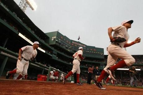 The Red Sox wore throwback 1918 uniforms against the Cubs on May 21, 2011. It was the Cubs' first game in Fenway Park since the 1918 World Series.