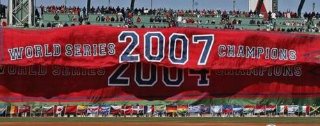 At the 2008 home opener, the Red Sox unveiled a championship banner for the second time in four years.
