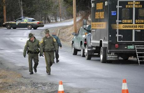 Vermont State Police search for clues Monday near the scene where Melissa Jenkins's car was found Sunday night.