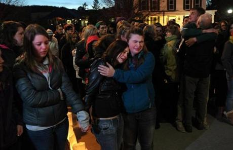 Students attended a candleight vigil for Jenkins at the St. Johnsbury Academy on Tuesday.