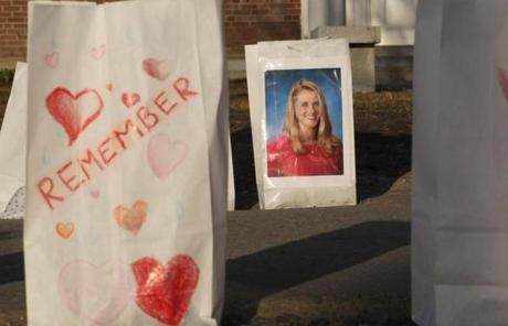 Tributes to Melissa Jenkins were placed outside the St. Johnsbury Academy.