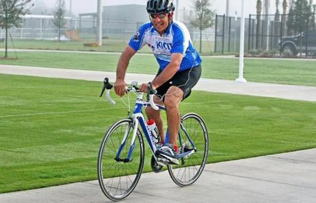 Valentine pedaled to work on a foggy morning in Fort Myers.