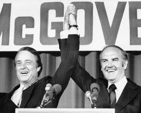 McGovern (right) and his new running mate Sargent Shriver raised their hands after the Democratic National Committee endorsed Shriver.