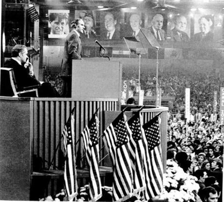 McGovern delivered his acceptance speech after his nomination as the 1972 Democratic candidate for president. His vice presidential running mate, Thomas Eagleton, sat nearby. Eagleton was later replaced by  Sargent  Shriver after it was discovered that Eagleton had undergone electroshock treatment for depression.