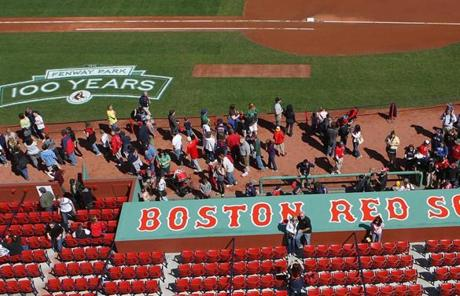 The open house came one day before the Red Sox and Yankees played on the 100th anniversary of the park's first game.