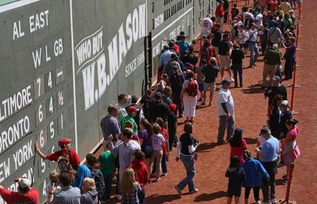 Fans were able to reach out and touch the Green Monster.