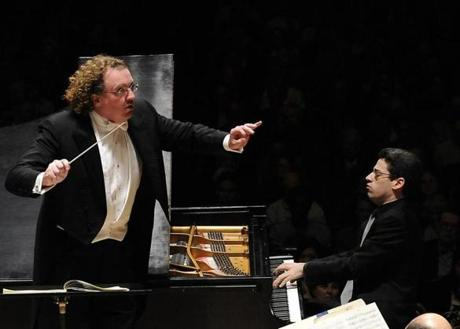 Stephane Deneve, conducting the BSO, and pianist Jonathan Biss. Gatti, Nelsons, and Deneve will return to Boston in 2013-14.