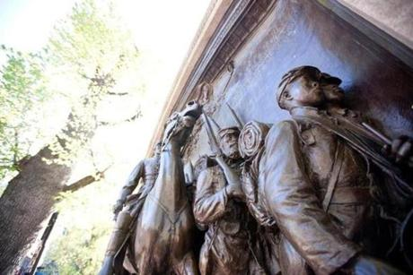 The Robert Gould Shaw Memorial across from the State House on the Black History Trail.