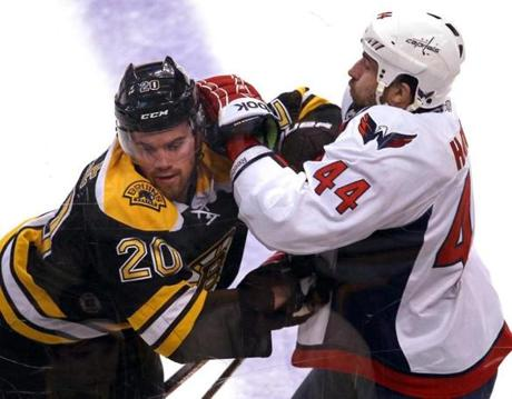 Bruins Daniel Paille and Capitals Roman Hamrlik chased a puck into the boards in the first period.
